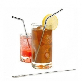 4 PCS reusable stainless steel straws and cleaning brush