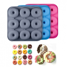 China 9 Cavity DIY Silicone Donut Mold, Non-toxic FDA Silicone Donut Pan factory