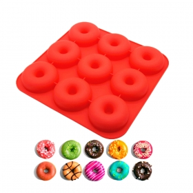 China 9 Cavity Silicone Donut Mold, Heat Resistant FDA Silicone Donut Muffin Pan, Silicone Cake Mould factory