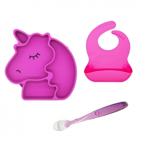 Chine Set de table bébé en silicone monobloc Amazon Hot, plaque bébé en silicone sans BPA, Set de table en silicone usine