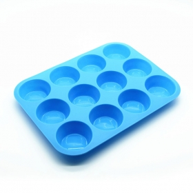 China Benhaida 12 Cups Silicone Muffin Cake Baking Pan , Silicone Ice Cream Cake Baking Mold factory