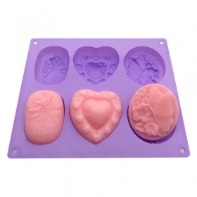 Benhaida Silicone Soap Molds 6 Cavities Silicone Baking Mold Cake Pan for Soap Making