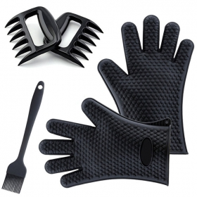 China Best Versatile Heat Resistant Grill Gloves with meat claw | Insulated Silicone Oven Mitts For Grilling factory