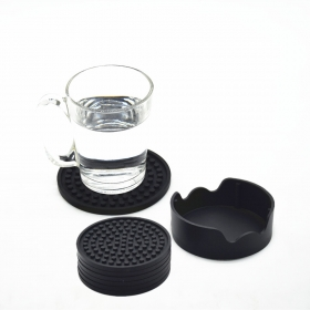 China Coasters for Drinks with Holder 4.3 inces Set of 6 Round Silicone Coasters for Wine Glass factory