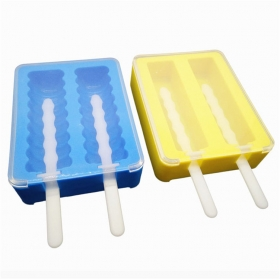 China FDA Approved 2 Cavities Silicone Popsicle Mold,Stackable Ice Pop Sticks Maker with Lid factory