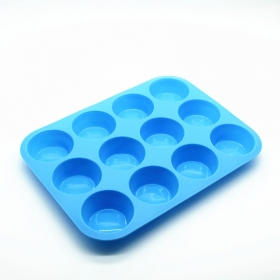 China Factory Direct 12 Cup FDA Muffin Cupcake Silicone Pan Wholesale factory