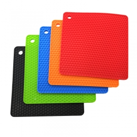 Factory-Direct Silicone Hot Pad Reusable Square Honeycomb Pattern Trivet Mat Pot Hold