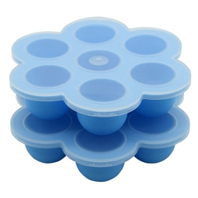 China Healthy 7 Cavity FDA Silicone Baby Food Storage Containers, BPA free Silicone Baby Freezer Trays With Lid factory