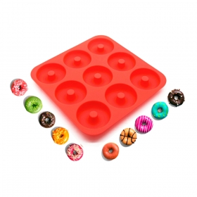 China Heat Resistant 100% Silicone Donut Pan,LFGB 9 Cavity Silicone Donut Mold,BPA free Silicone Cake Mould factory