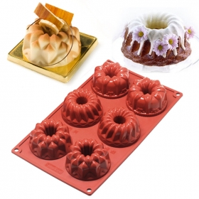China Heat Resistant 6 Cup Silicone Fancy Bundt Cake Mold Silicone Muffin pan Siicone Spiral Cake Mold factory