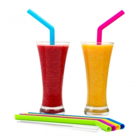 China Hot Selling  Silicone Extra Long Reusable Drinking Straws Silicone Rubber  Drinking Straws BPA FREE factory