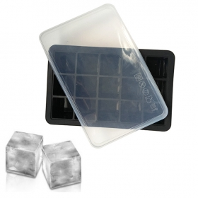 China Ice Cube Trays Silicone - Large Ice Tray Molds for making 15 Ice Cubes for Whiskey - 2 Pack ice cube tray with lid factory