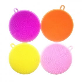 China Magic Kitchen Cleaning Scrubbers,Antibactetial Silicone Round Dish Scrubber Brush factory