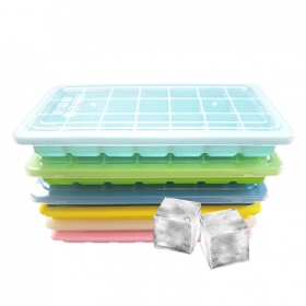 New Arrival 21 Cavity Square Ice Cube Tray,Silicone Ice Cube Maker with Plastic Lid