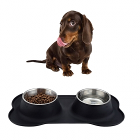China New Arrival Silicone Non-skid Supreme Dog bowl Set with Stainless Steel Bowls 35oz factory