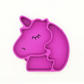 China New Silicone Suction Plate ,Unicorn Shape baby placemat For Toddlers, Dishwasher, Microwave and Oven Safe factory