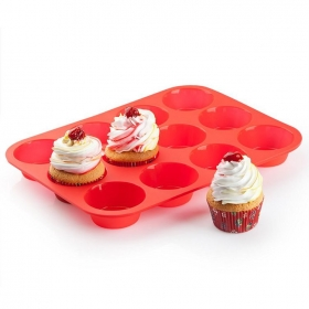 China Non - Stick Silicone Baking pan 12 cups Silicone Muffin Cupcake Baking Pan factory
