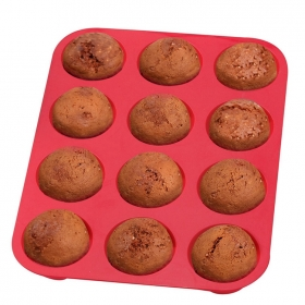 China Nonstick Cake Pan FDA silicone 12 cup muffin pan, Heat resistant silicone cake baking pan factory