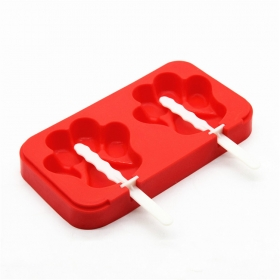 China Paw Shape 2 Cavity Cute Ice Cream Sticks Bar Mold,BPA Free Silicone Ice Popsicle Mold factory