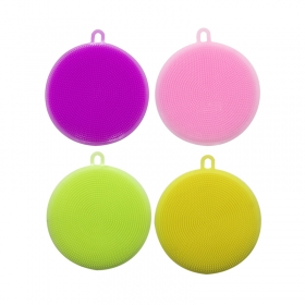 China Round shaped Durable FDA Silicone dish brush,Factory Direct Silicone cleaning sponge factory