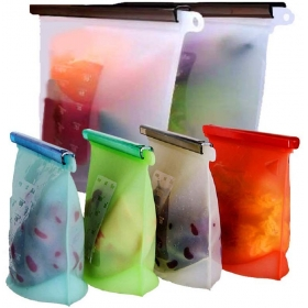 Silicone Food Storage Bag 2 Large 3 Medium Food Prezervation Leakproof Sandwich Bags