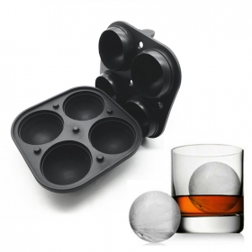 China Sphere Ice Maker ball Molds – 4 Ice Mold Round Ice Cubes For Drinks Silicone Tray Silicon Whiskey Ice Cube Trays Balls Makers factory