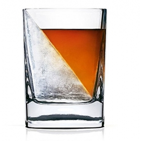 Whiskey Wedge Double Old Fashioned Glass with  Silicone Ice Form