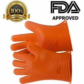 Whosale Heat Resistant Silicone BBQ Grill Oven Gloves, Silicone BBQ Grill Oven Mitt