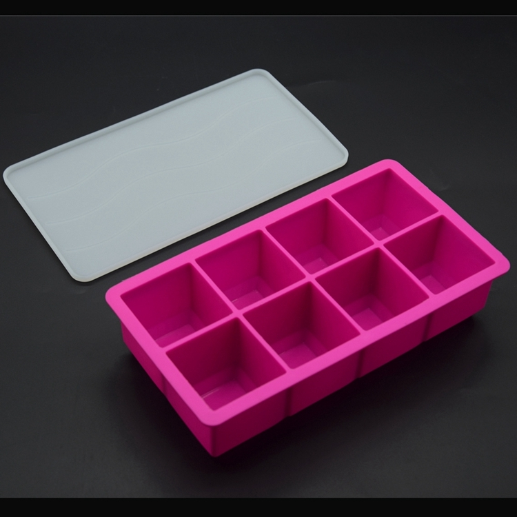 2 Inch Giant Silicone Ice Cube Tray With Lid Square