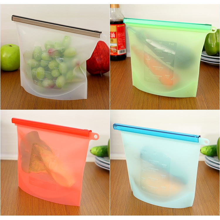 4 Pack Reusable Silicone Food Bag Preservation Storage