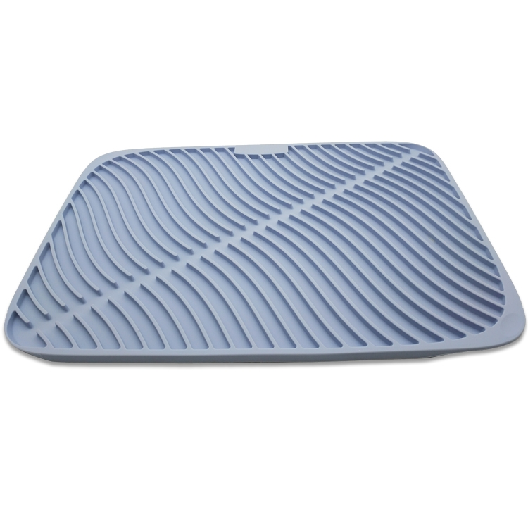Large Silicone Drying Mat Draining For Kitchen Counter With Dish Scrubber