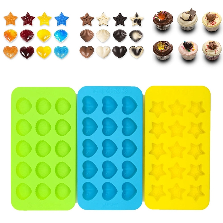 Whole Candy Molds And Ice Cube Trays Hearts Stars Shells Shape Silicone Chocolate